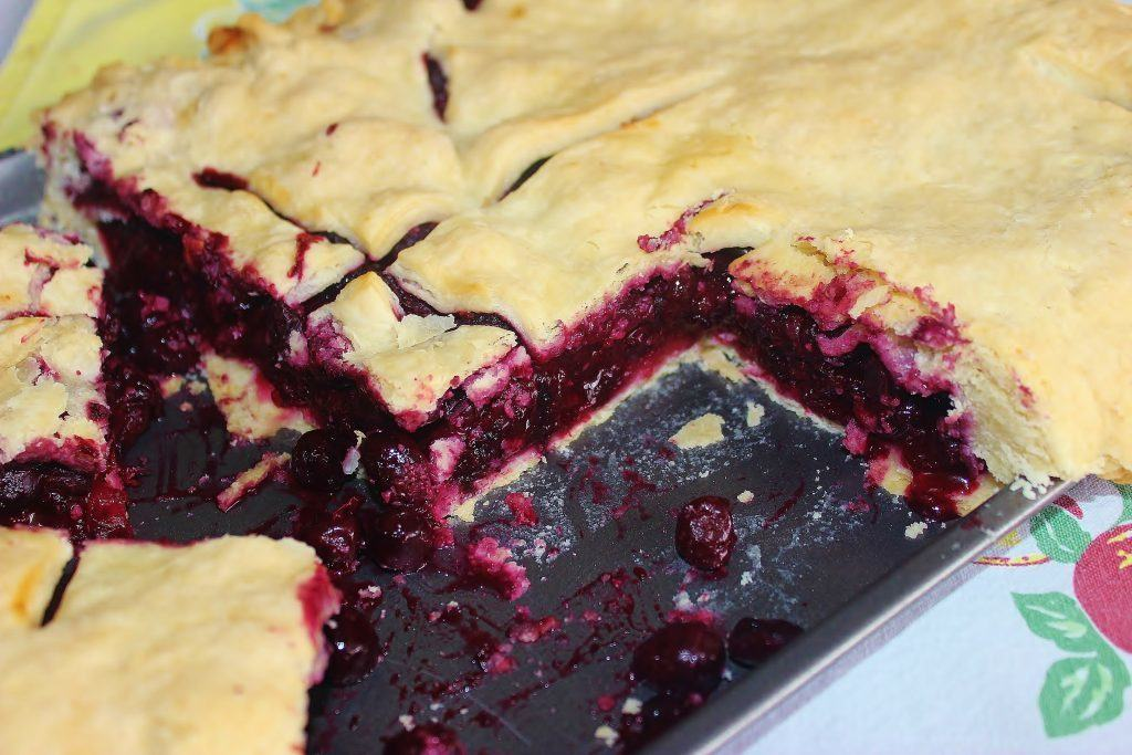 Blueberry Slap Pie in pan.