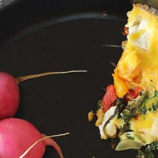 Arugula Tomato and Goat Cheese Frittata/My Kitchen Garden