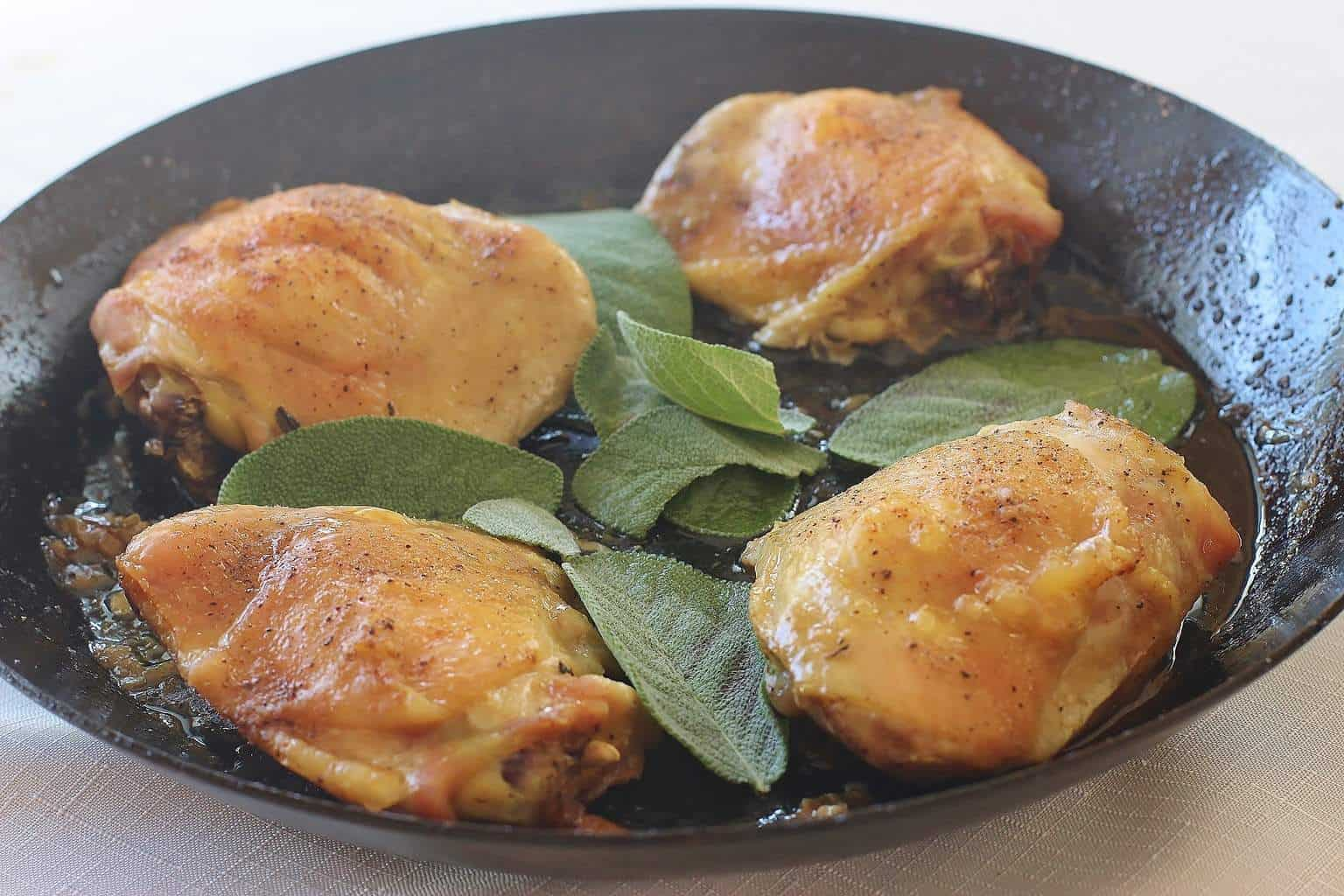 Sage roasted chicken thighs syrup and biscuits forumfinder Images
