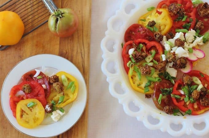 Tomato, Goat Cheese Salad with Fried Okra Croutons #tomato #goatcheese #okra