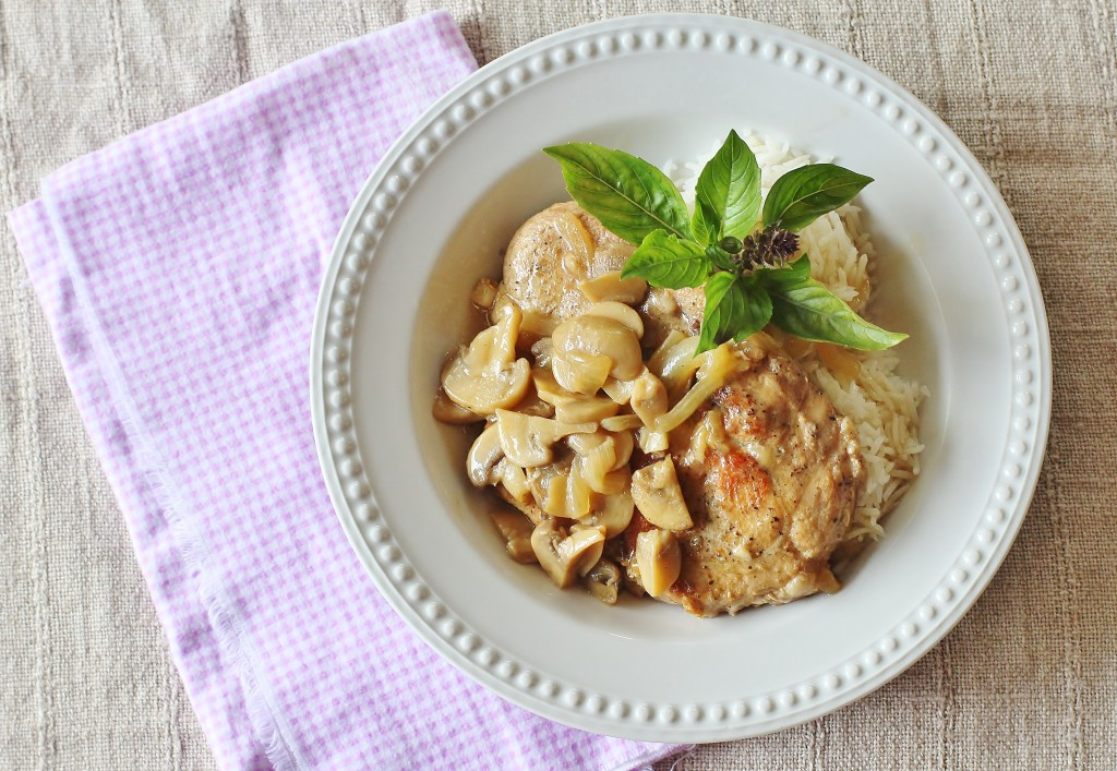 Baked Pork Chops with Mushroom Onion Gravy. Seasoned pork chops browned and cooked in a gravy of mushroom, onions, garlic and white wine.