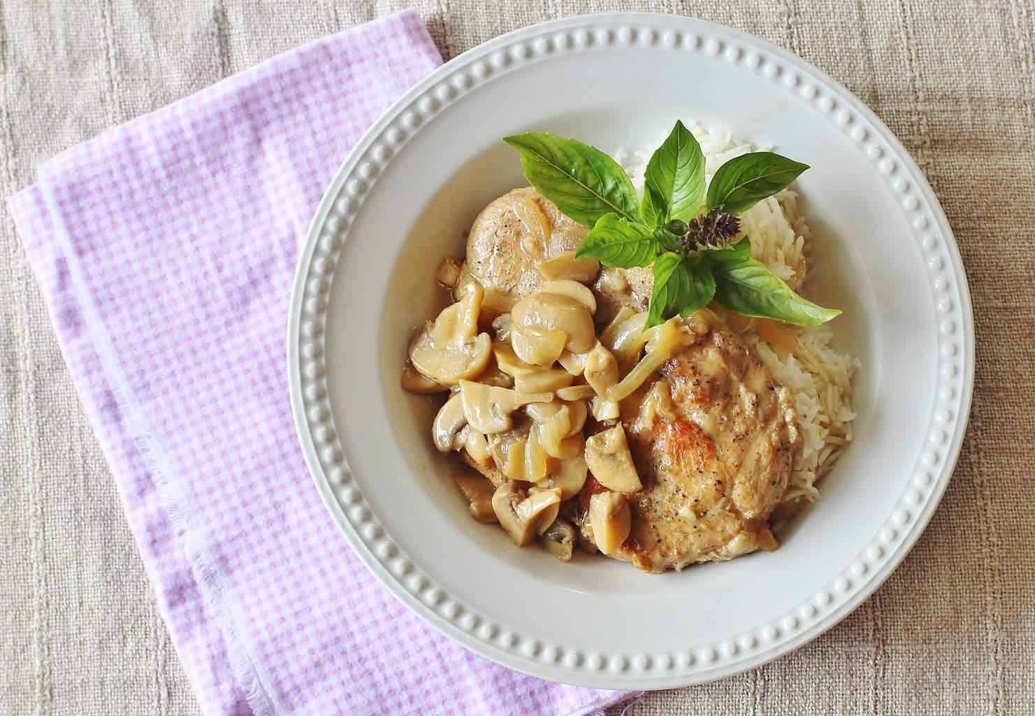 Baked Pork Chops with Mushroom Onion Gravy