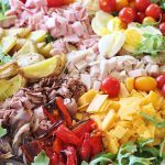 Salmagundi. An 18th precursor to Chefs Salad. Use any combination of roasted meats and vegetables along with boiled eggs, fresh vegetables and salad greens. Serve with your favorite salad dressing. #salmagundi #salad #southern