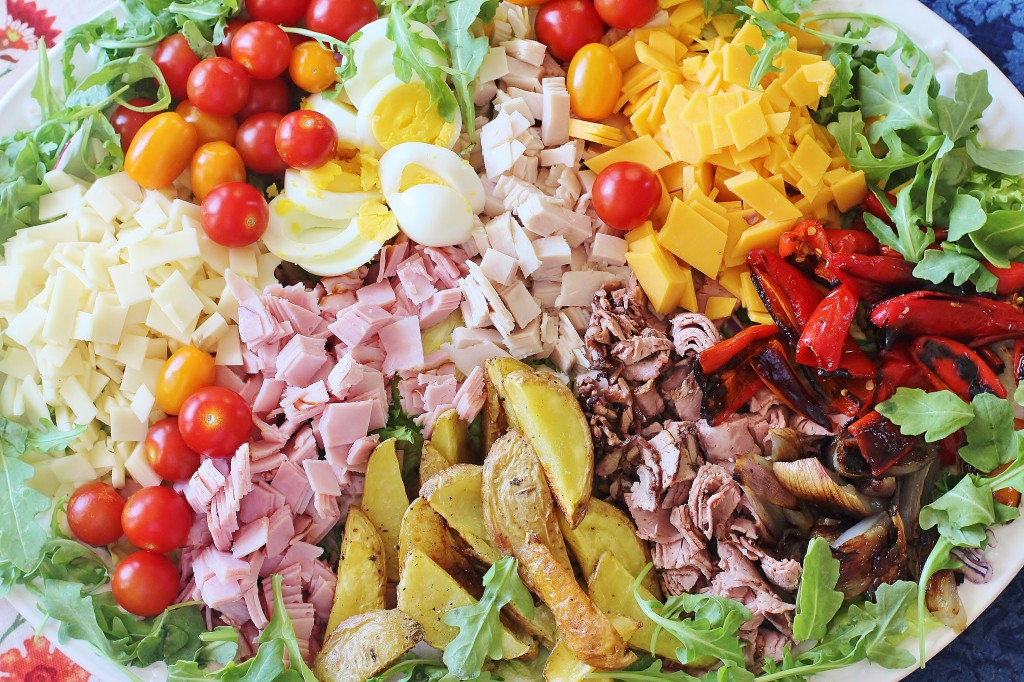 Salmagundi. An 18th century precursor to Chef's Salad. Use any combination of roasted meats and vegetables along with boiled eggs, fresh vegetables and salad greens. Serve with your favorite salad dressing. #salmagundi #salad #southern