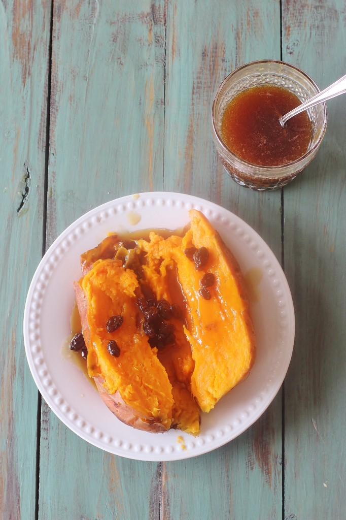 Baked Sweet Potatoes with Rum Raisin Sauce. Baked sweet potatoes topped with a sauce made from rum, raisins, butter and brown sugar.