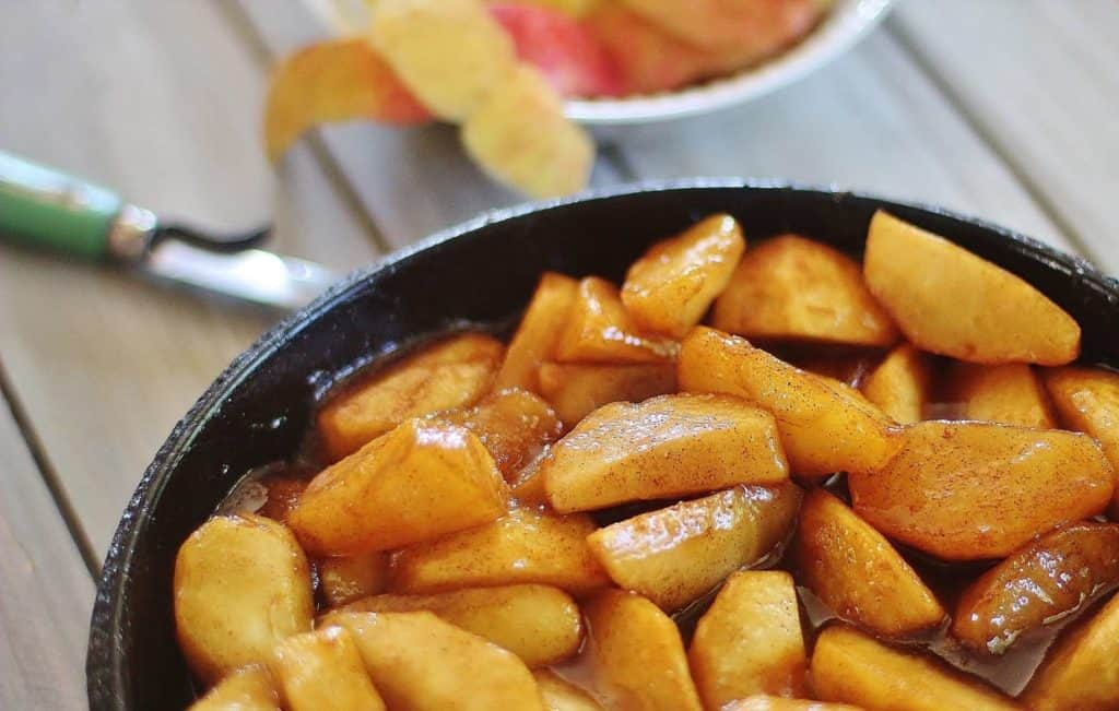 Fried Apples in baking dish.