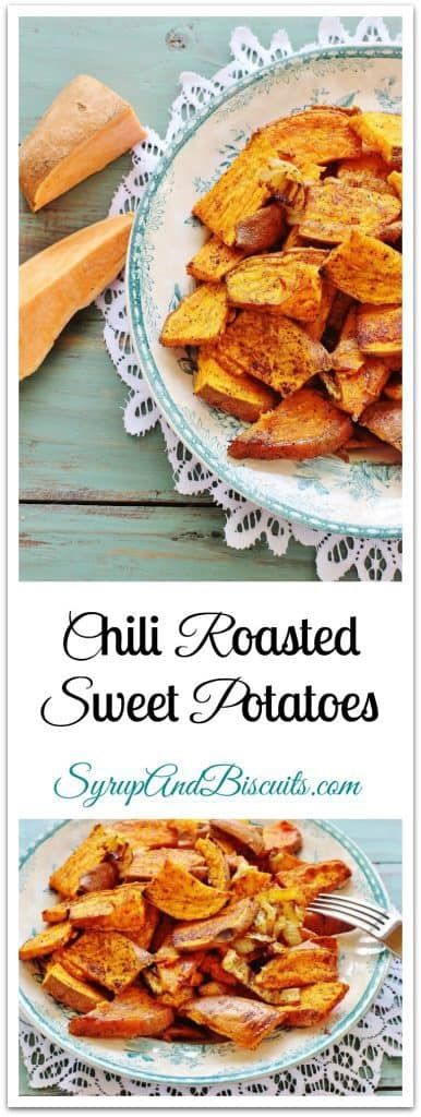 Chili Roasted Sweet Potatoes is the best of both worlds: sweet and savory. Sweet potatoes offer up sweetness and chili spices plus onions add a remarkable blend of savory flavors.