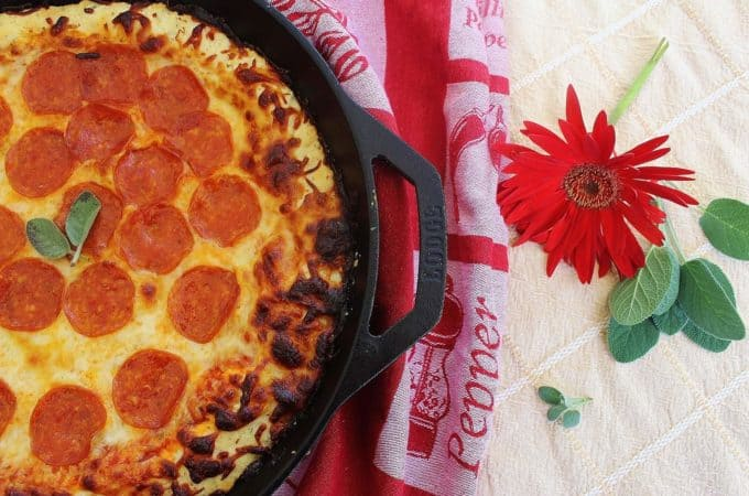 "Skillet Pepperoni Biscuit Pizza from ""Biscuits: sweet and Savory Southern Recipes for the All-American Kitchen"""