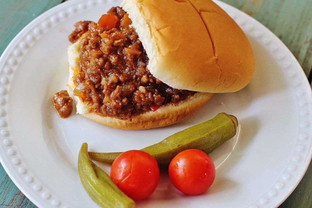 Two Meat Sloppy Joes. An All-American standard. Ground beef, ground pork, peppers, onions cooked in a BBQ-y sauce.
