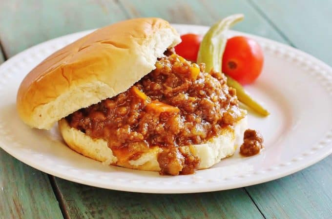 Two Meat Sloppy Joes. An All-American standard made with ground beef, ground pork, peppers, onions and a BBQ-y sauce.