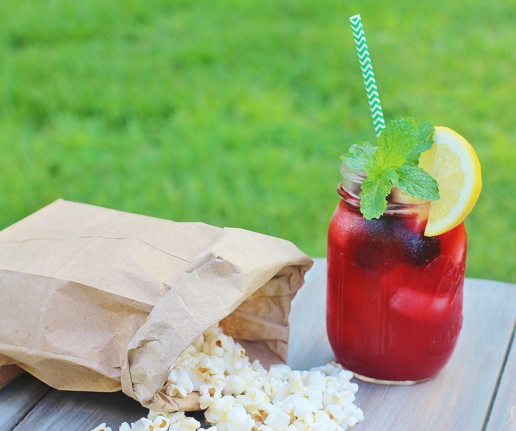 Sparkling Blackberry Lemonade. Sparkling water, lemon juice, Equal® and blackberry puree.