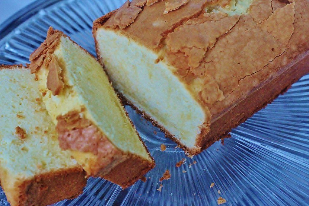 Buttermilk Pound Cake on plate.