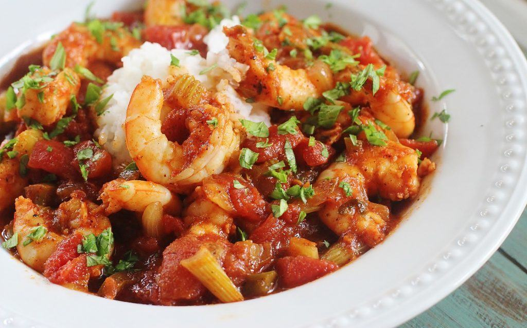 Shrimp Creole. A flavorful dish of shrimp, tomatoes, onions, celery, bell pepper and seasonings served over rice.