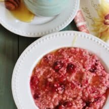 Cranberry Oatmeal. Fresh cranberries and brown sugar form a lite syrup and are added to quick cook oatmeal for a delightful breakfast.