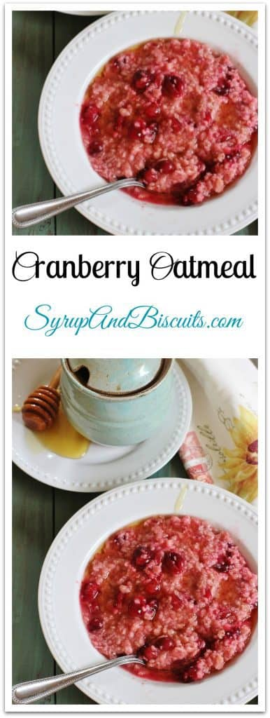 Cranberry Oatmeal. Fresh cranberries and brown sugar form a light syrup and are added to quick cook oatmeal for a delightful breakfast.