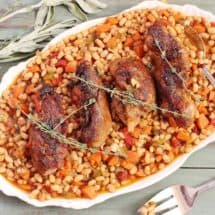 Country-style Ribs and Great Northern Beans. A one pot meal of seasoned boneless country-style meal cooked over a stew of dried beans, onions, carrots, celery, garlic and fresh herbs.