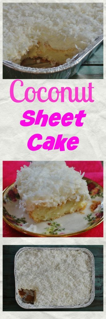 Coconut Sheet Cake in pan and on plate.
