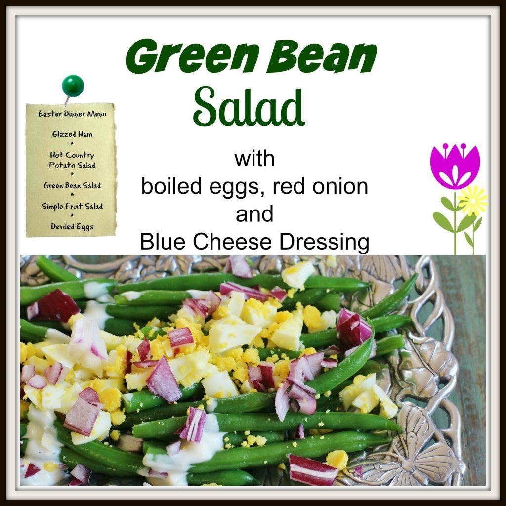 Green Bean Salad. Blanched green beans, boiled eggs, red onion and blue cheese dressing