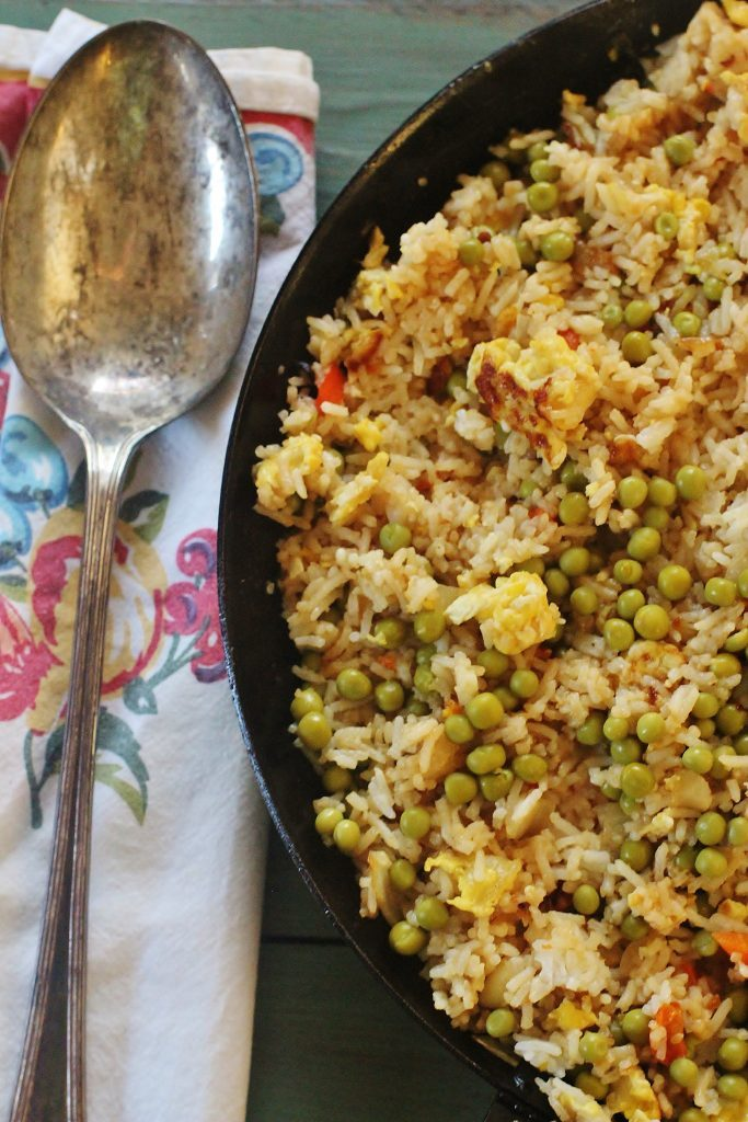 Vegetable Fried Rice. Sauteed vegetables, cooked rice, scrambled eggs and soy sauce in a one skillet meal.