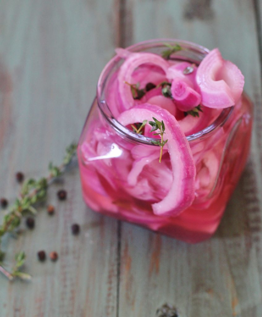 Pickled Onions. Red onions quick pickled overnight in your refrigerator. Use as a topping on tacos, fajitas, sandwiches, salads, etc.