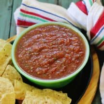 Salsa in a bowl served with chips
