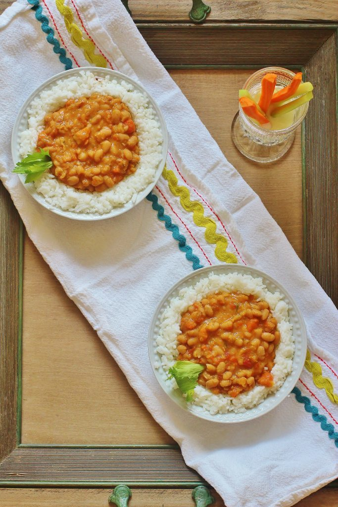 Stewed Navy Beans with Rice in bowl.