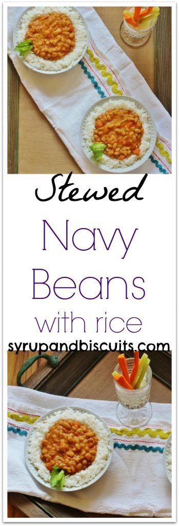 Stewed Navy Beans with Rice in bowls.