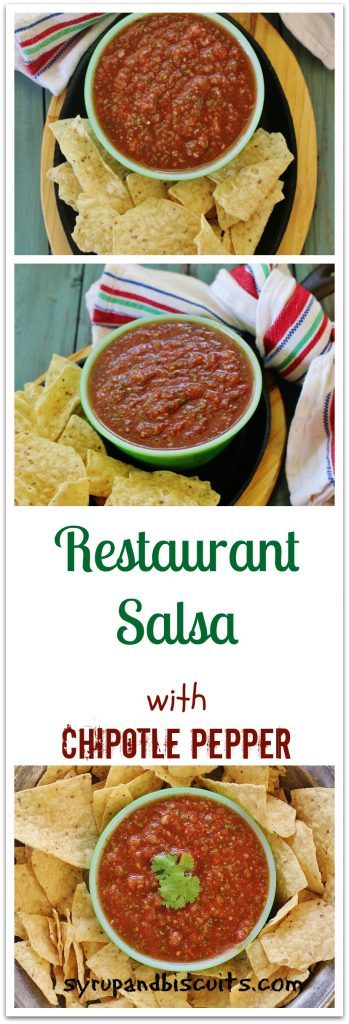 Restaurant Salsa with Chipotle Pepper. A restaurant-style salsa made fresh at home. Chipotle pepper and adobo sauce adds a touch of smokiness.