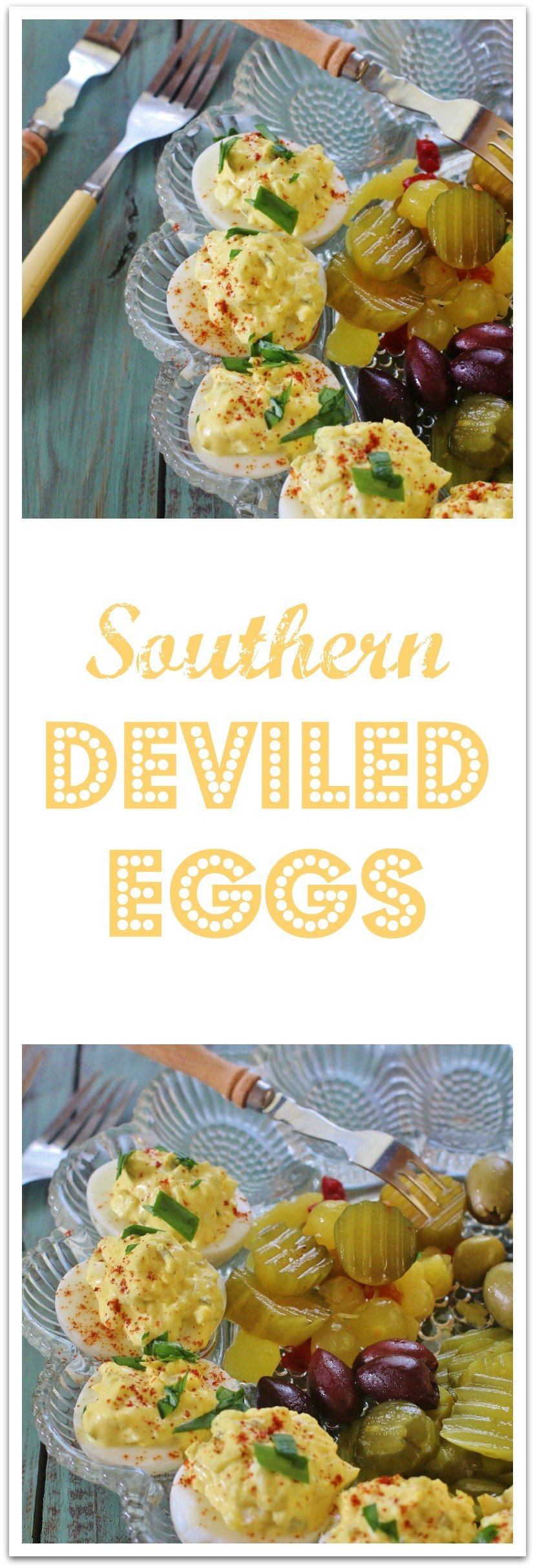 There's many ways to modify the basic filling recipe. Add in bacon, ham, pimmenocheese (that's how we say it), olives, avocado, green onions, etc. #DeviledEggs #SouthernStyle