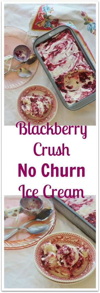 Blackberry Crush No-churn Ice Cream. Three ingredients plus blackberry sauce.
