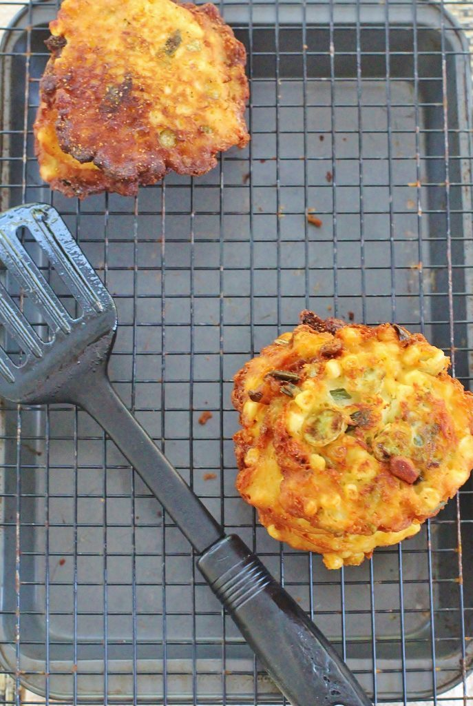 Savory Corn and Green Tomato Cakes. Cornmeal cakes with corn, green tomatoes and green onions.