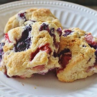 Strawberry Blueberry Biscuits. Fresh strawberries and blueberries baked in a slightly sweet buttermilk biscuit.