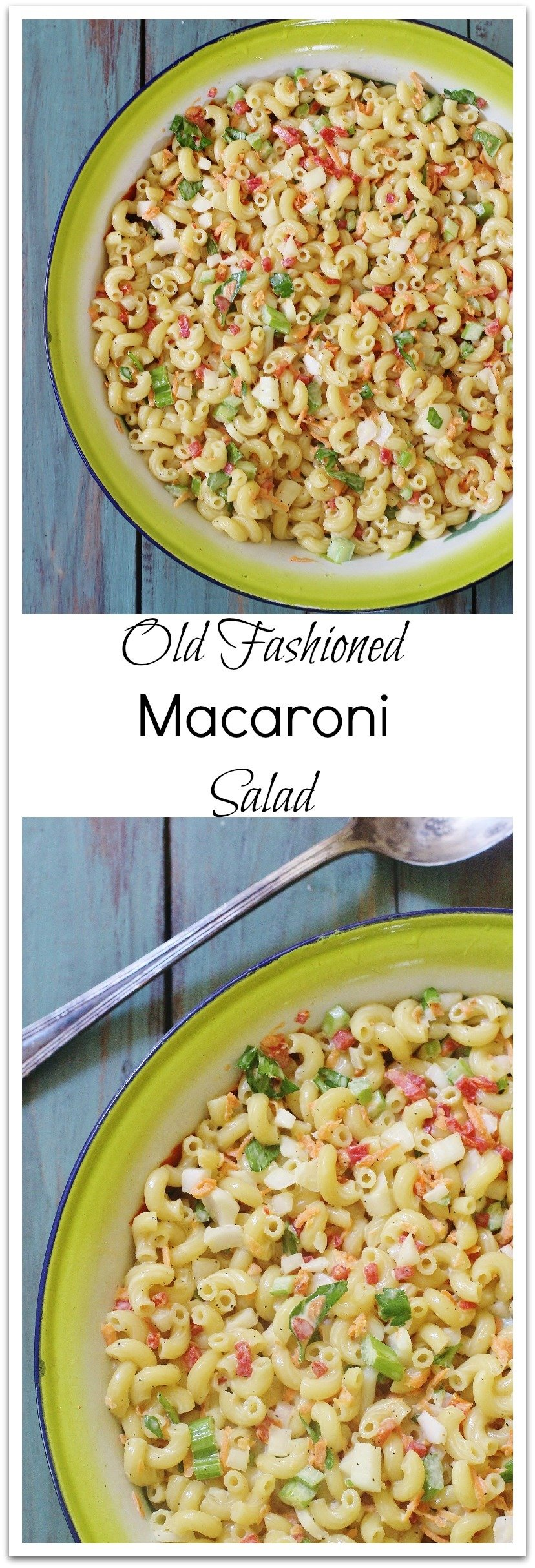 Served chilled, this salad is creamy, cool, tart and sweet.  A great combination of flavors and nostalgia. I prefer the mild flavor of rice vinegar in this recipe. #Macaroni #Salad