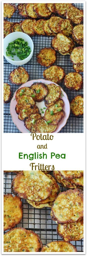 Potato and English Pea Fritters. Leftover mashed potatoes mixed with English peas and green onions.