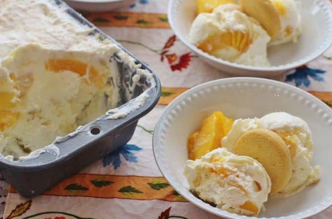 Peach Cobbler No-Churn Ice Cream. An easy-to-make no-churn ice cream filed with the flavors of southern peach cobbler.