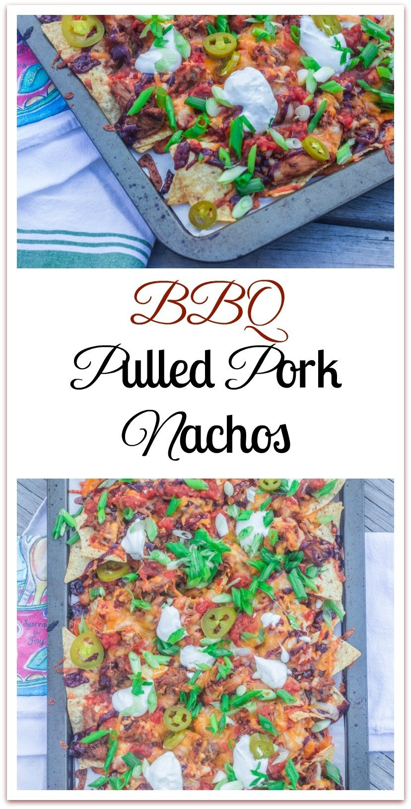 Sheet-Pan Barbeque Pulled Pork Nachos. Leftover pulled pork, barbeque sauce, and favorite toppings on a bed of tortilla chips. Bake until cheese melts. #PulledPorkNachos #SheetPanNachos