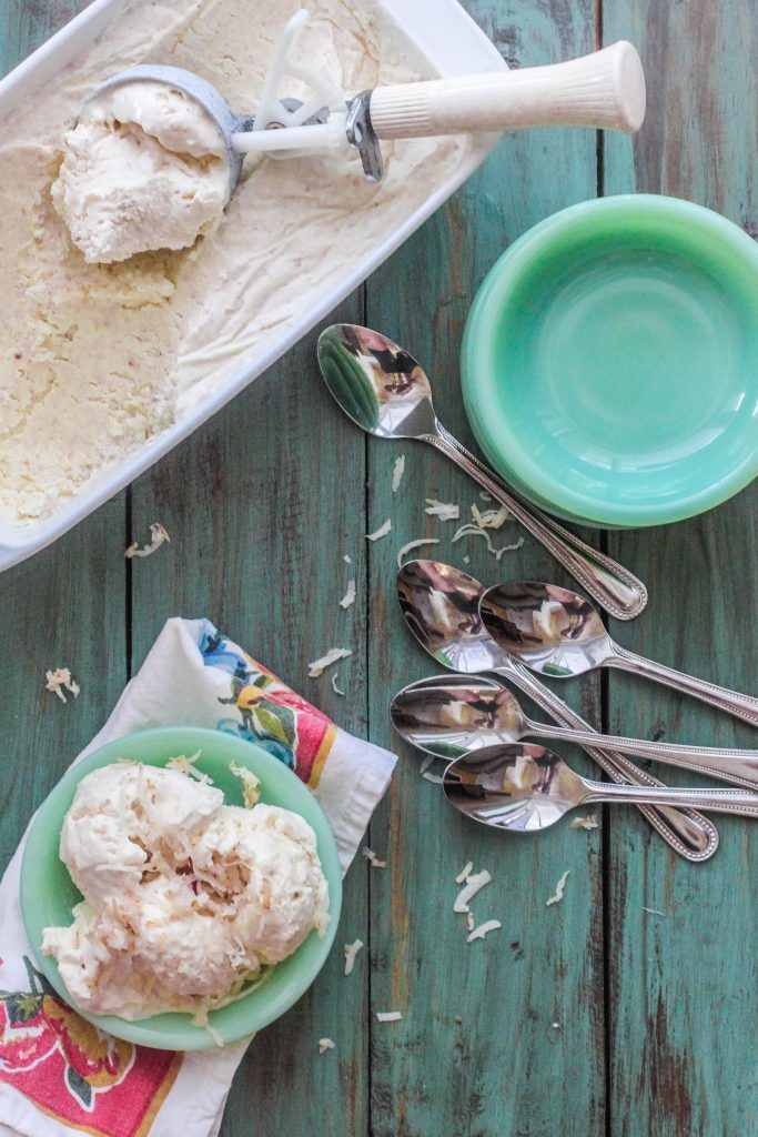 Coconut Macaroon No-Churn Ice Cream. The flavor and texture of Coconut Macaroons in an easy no-churn ice cream base.