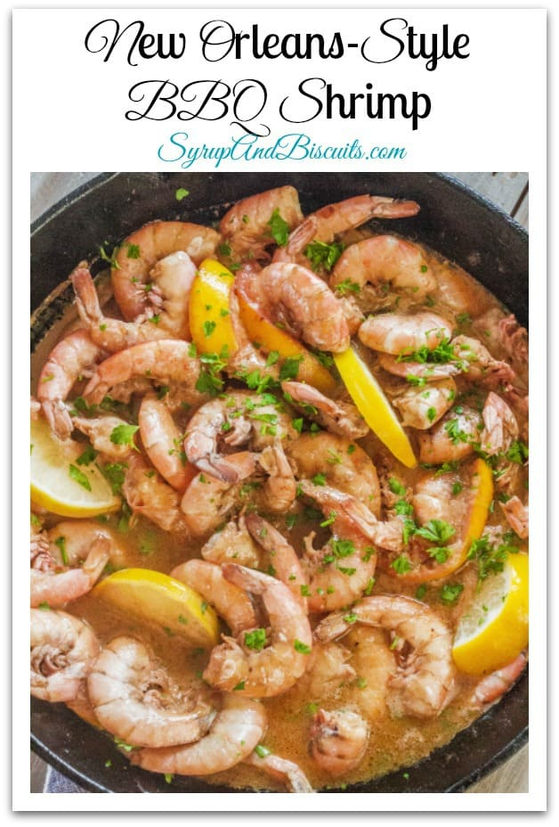 New Orleans-Style BBQ Shrimp is a one pot  peel-and-eat recipe made with shrimp with shells on cooked in a buttery, savory broth. Served with crusty French bread for dipping. #shrimp #castiron #southernfood