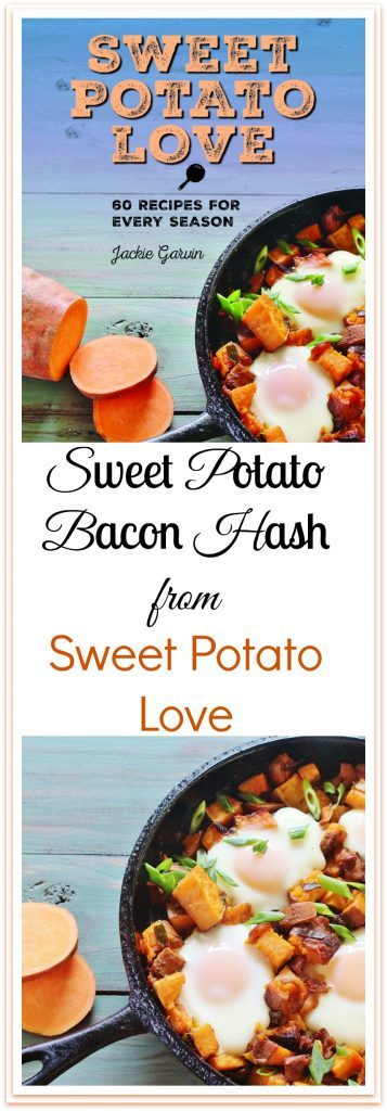 """Sweet Potato and Bacon Hash with Baked Eggs. A skillet meal of sweet potatoes, sweet onions and bacon topped with eggs. From the cookbook """"Sweet Potato Love"""" by Jackie Garvin."""
