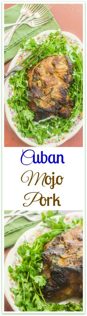 Cuban Mojo Pork. Boston butt marinated in mojo sauce made from fresh orange and lime juice, cumin, oregano, cilantro and garlic.