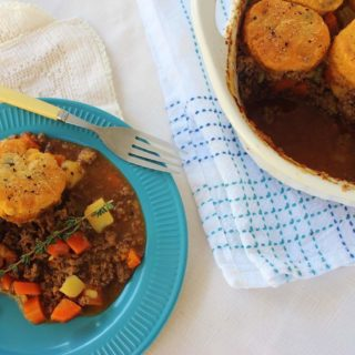 Hamburger Pot Pie with Herb Biscuit Topper