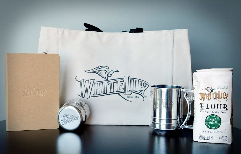 White Lily giveaway: journal, biscuit cutters, sifter, flour and totebag.