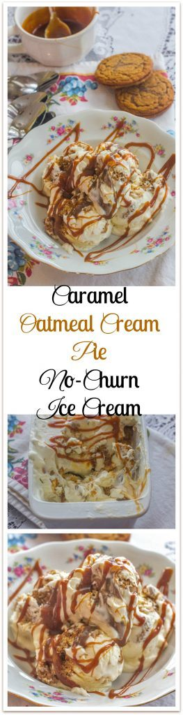 Caramel Oatmeal Cream Pie No-Churn Ice Cream. Store bought caramel sauce and oatmeal cream pies make this no-churn ice cream as decadent as it is easy to make.