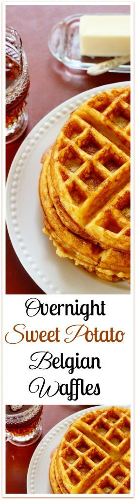 Overnight Sweet Potato Belgian Waffles. Mix most the batter the night before. In the morning, add a few fresh ingredients including sweet potato.