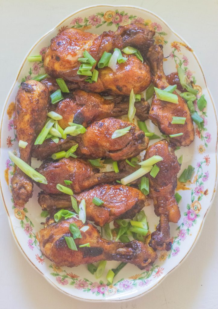 Sweet and Spicy Chili Chicken Legs (drumsticks). Sweet from apricot preserves and heat from hot sauce makes these drumsticks a great appetizer or main course.