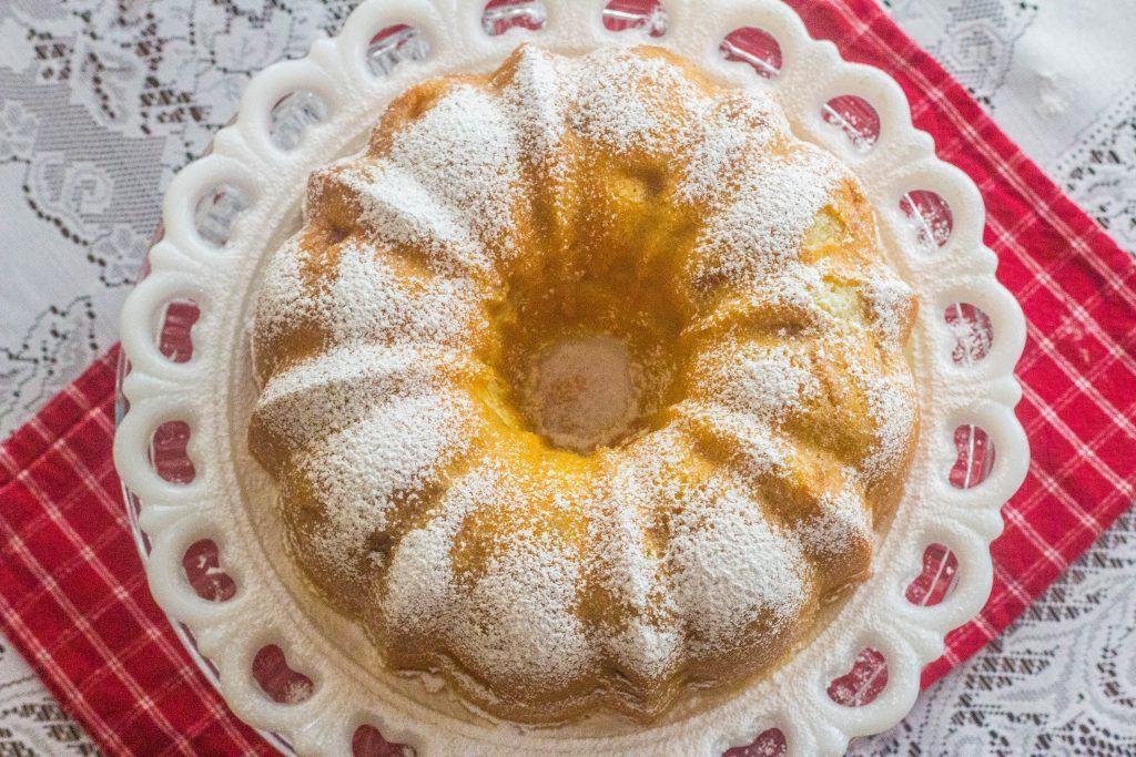 Fresh Apple Sour Cream Pound Cake on platter.
