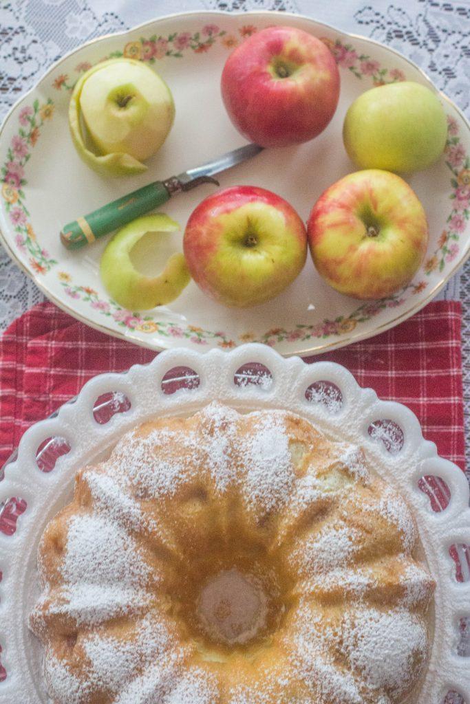 Fresh Apple Sour Cream Pound Cake on plate.
