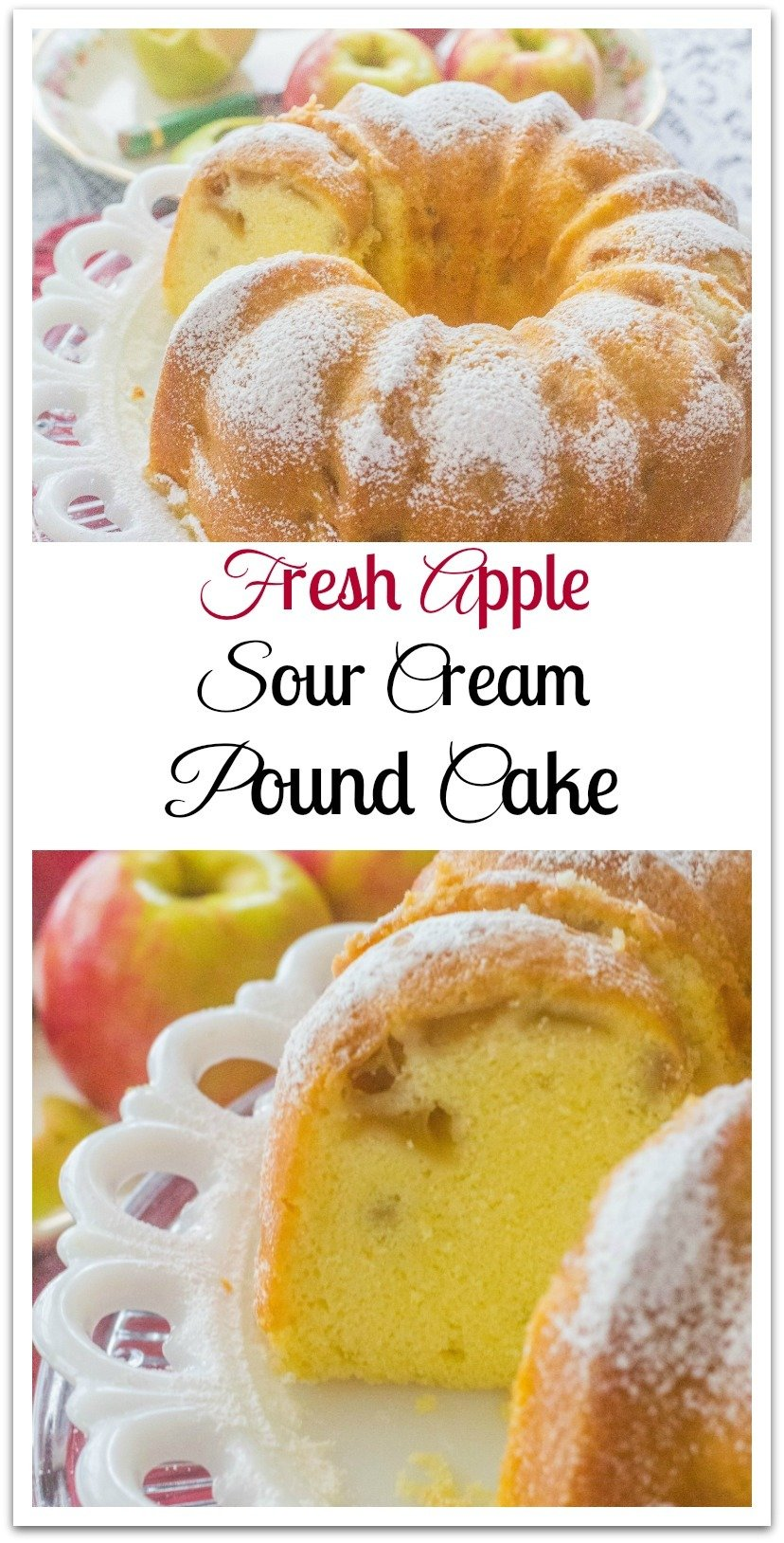 My mothers love of fresh apple cakes inspired me to take the best of my sour cream pound cake recipe and fresh apple pound cake and smush them together. #PoundCake #FreshApples