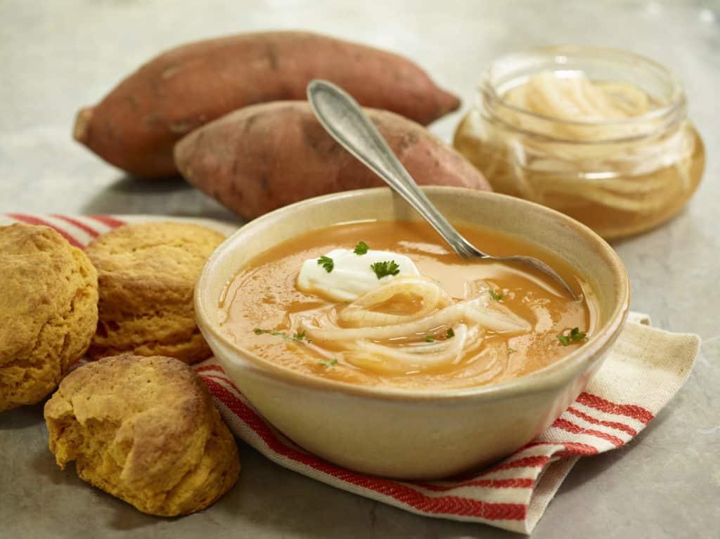 Sweet Potato Soup and Marinated Onions