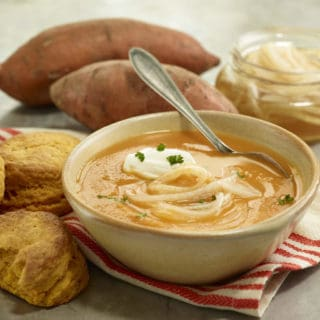 Sweet Potato Soup with Marinated Onions